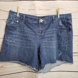 TORRID Denim Raw Hem Shorts